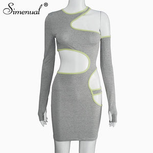 Hollow Out Skinny Women Bodycon Dress 2020 Long Sleeve Sexy Hot Autumn Fashion Grey Party Club Mini Dress 2020 Female