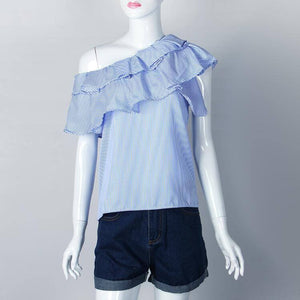 New Striped Women Blouses Off Shoulder Top 2020 Ruffles Beach Summer Shirts Pink Blue Kawaii Blusas Femininos Streetwear Gv593