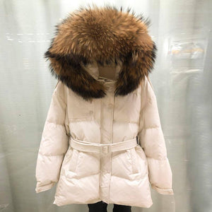 Down Jacket 2021 White Duck Down Belt Coat 2021 Real Raccoon Fur Collar Medium Long Female Parkas 2020 Snow Outwear