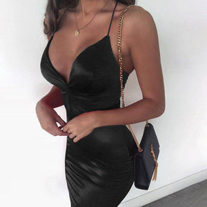 Off Shoulder Slip Sexy Dress 2020 Women Midi Bodycon Summer New Satin Strappy Backless V Neck Party Dress 2020