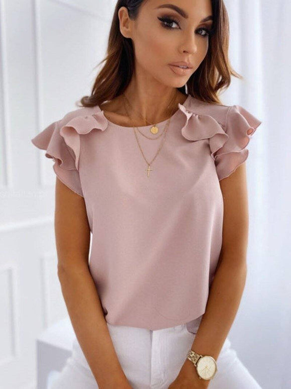 Elegant Women Summer Solid Color Pullovers T-Shirts Patchwork Design Ruffles Decor O-Neck Ruffles Short Sleeve Slim Top 2020