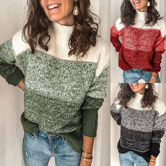 Women Autumn Contrast Color Sweater Pullover 2020 Top Long Sleeve Knitted Sweater Ladies Jumpers Knitwear New Pullover Sweater 2020</p>