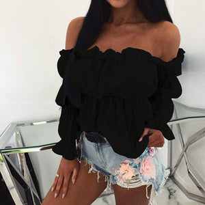 Womens Top 2020 And Blouses Sexy Solid Color Off Shoulder Ruff Sleeve Long Sleeve Ruffled Women Blouse Women Shirts