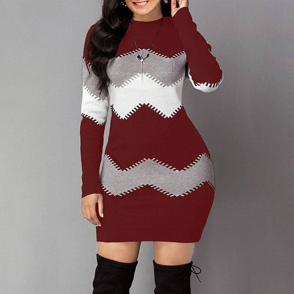 Long Striped Long-Sleeved Autumn And Winter Sweater Dress 2020 Long Multi-Color Slim-Fit Sweater Dress 2020 New Fashion Knitted Long Multi-Color Top