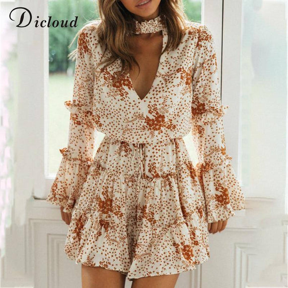 White Floral Choker Dress 2020 Women V Neckline Long Flared Sleeve Mini Party Dress 2020 Autumn Sexy Ruffle Clothes Ladies