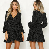 Party Vintage Women Dress 2020 Long Sleeve Female Sexy V-Neck Autumn Winter Dress 2020 Elegant Dot Print Dress 2020 Vestidos