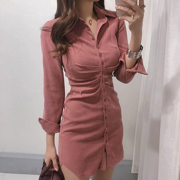 Autumn Women Dress 2020 Winter Sexy Bodycon Long Sleeve Velvet Solid Casual Mini Shirt Dress 2020 For Women Female