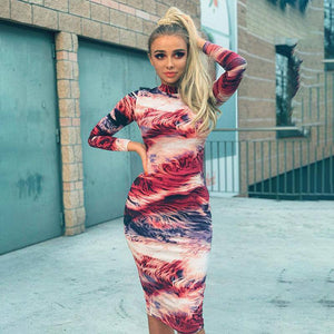 Print Tie Dye Long Sleeve Colorful Sexy Midi Dress 2020 Autumn Winter Women Bodycon Party Streetwear Outfits