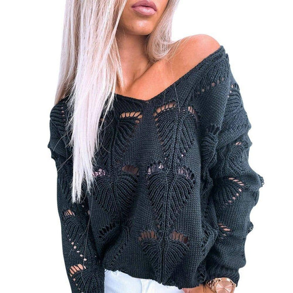 Fashion Autumn Women Thin Sweater New V-Neck Loose Pullovers Hollow Out Knitwear Sweater Sexy Black Pink Jumper