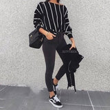 Women Casual Striped Short T-Shirts Women Top 2020 Long Sleeve White Fashion Autumn Office Lady