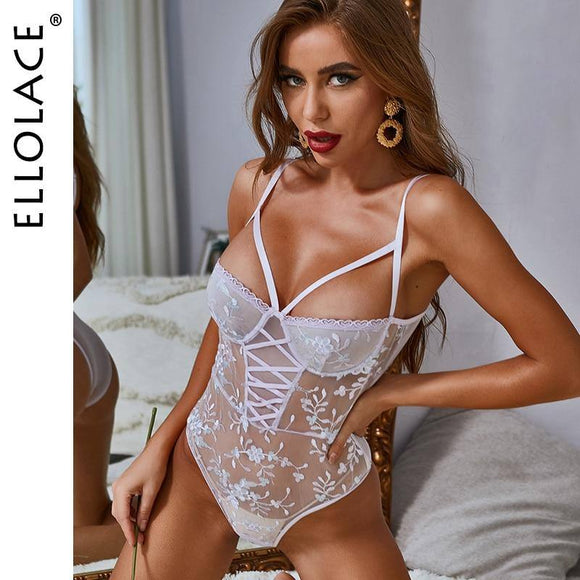 Ellolace Bodysuit Women Sexy Embroidery Jumpsuit Women Transparent Body Floral Rompers See Through Bodycon Sleeveless Body Suit
