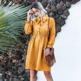 Shyloli Cute Bow-Tie A-Line Corduroy Dress 2020 Women Turn-Down Collar Long Sleeve High Waist Button Sexy Knee Dress 2020 New Arrival