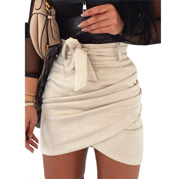 Sexy Skirt Asymmetric Belt Solid Skirt 2021 Women Bodycon Leather Skirt 2021 New High Waist Bandage Short Skirt 2021 Femme