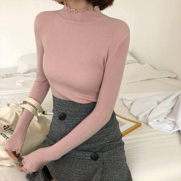 Turtleneck Ruched Women Sweater High Elastic Solid Fall Winter Fashion Sweater Women Slim Sexy Knitted Pullover 2020 Pink White Pullover Sweater 2020</p>
