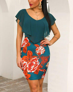 Fashion Women Blue Floral Sexy Skinny Ruffles Dress 2020 Formal Bodycon Slim Business Party Evening Club Wear Short Pencil Dress 2020