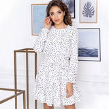 Long Sleeves Ruffles Dot Print Autumn Dress 2020 Fashion Back Keyhole Round Neck Sashes A Line Mini Dress 2020 For Women