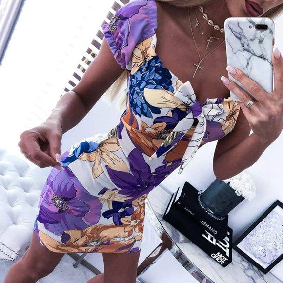 Women Bodycon Dress 2020 Fashion Sexy Square Collar Floral Printed Short Sleeve Women Dress 2020 Sexy Dress 2020 Club Wear