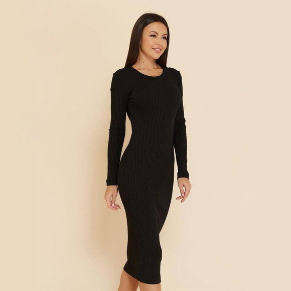 Sexy Knitting Bodycon Dress 2020 Women Long Sleeve O Neck Autumn Winter Midi Length Elastic Party Dress 2020 New Fashion Elegant