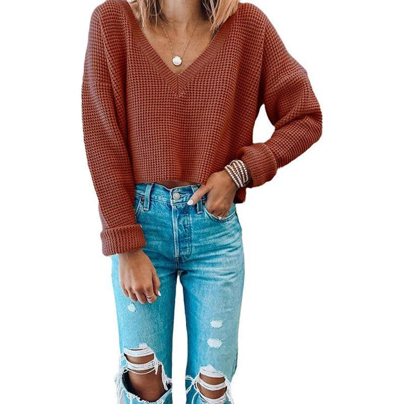 Casual V Neck Woman Brick Red Sweater 2020 Knitwear Crop Top Long Sleeve Autumn Jumper Solid Basic Pullover New Sweater 2020 Sale