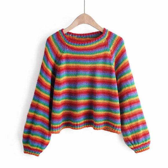 Artguy Women Long Sleeve Colorful Striped Rainbow Sweater 2020 Cropped Jumper Knitwear Girl Knitted Pullovers Sweater 2020 Crop Top