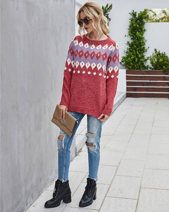 Bohemian Vintage Women Christmas Sweater 2020 And Pullovers Geometric Red Jumper Knitwear Holiday Ugly Sweater 2020 Winter