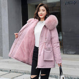 Fitaylor New Winter Parkas 2020 Women Large Fur Collar Hooded Jacket 2020 Thickness Cotton Padded Overcoat -30 Degree Snow Outwear Women's Trench Coat 2020