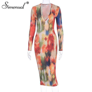 Simenual V Neck Sexy Fashion Print Women Bodycon Dress 2020 Long Sleeve Party Clubwear Skinny Hot Pencil Midi Dress 2020 Spring
