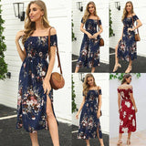 Summer Casual Women Dress 2020 Short Sleeve Slim Women Long Dress 2020 Sexy Backless Off Shoulder Slit Asymmetrical Fashion Print Dress 2020