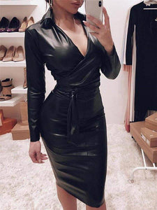Pu Leather Deep V Neck Dress 2020 Women Casual Jumper Bodycon Dress 2020 Clubwear Long Sleeve High Waist Lace-Up Knee Length Dress 2020