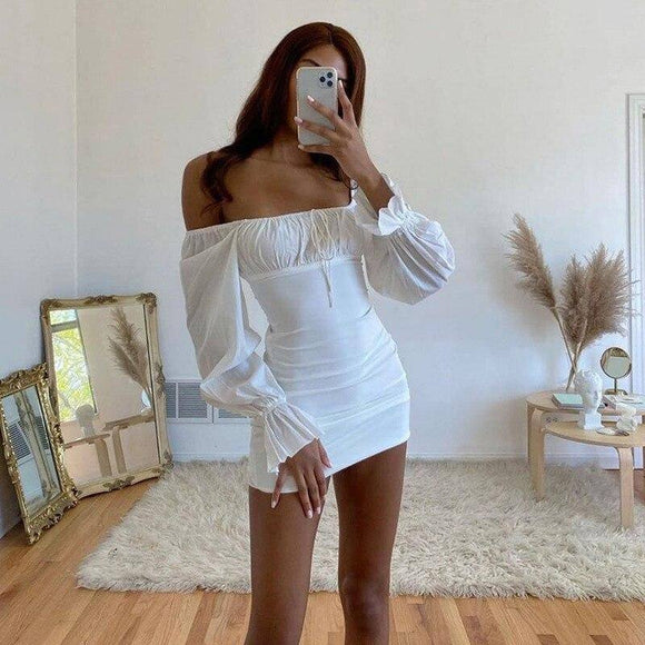 Women Summer Long Flare Sleeve Dress 2020 Slash Neck Off Shoulder Bodycon Pencil Mini Dress 2020 Pleated Lace Up Skinny Short Dress 2020