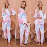 New Women Tie Dye Print 2Pcs Outfits Long Sleeve Hooded Top 2020 Loose Trousers Casual Pocket Clothes Set