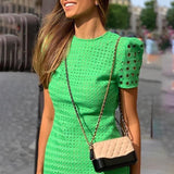 Hollow Out Short Sleeve Bodycon Dress 2020 Slim Fit Summer Dress Elegant Office Ladies Workwear O Neck Green Mini Dress 2020   Swansstyle
