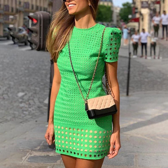 Hollow Out Short Sleeve Bodycon Dress 2020 Slim Fit Summer Dress Elegant Office Ladies Workwear O Neck Green Mini Dress 2020