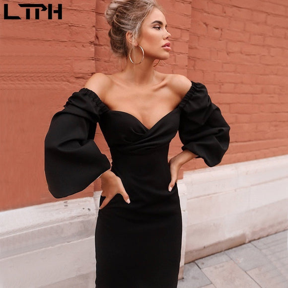 Hot sale 2019 autumn and winter new women dress sexy tube top low collar puff sleeves solid color long fashion pencil dresses