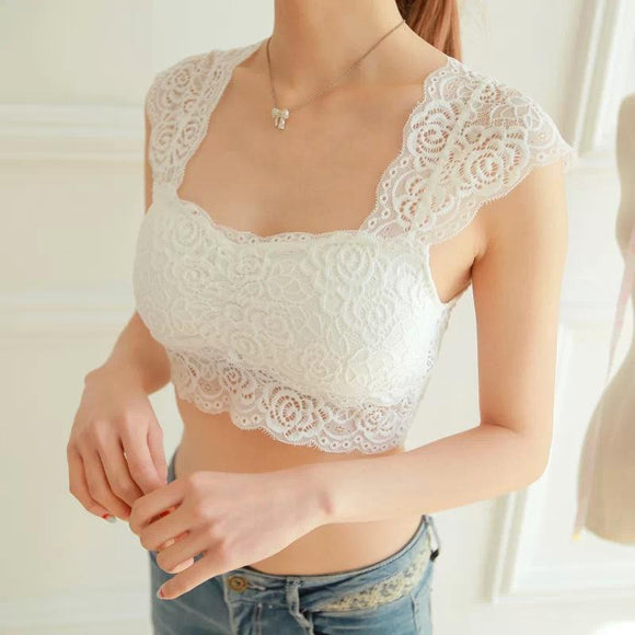 White Crop Top 2020 Hot wokeayer New Women Ladies Sexy Lace Padded Bra Crop Top Black White Vest Sleep Leisure Bralette Intimates Tank Tops Sleeveless Tank Top   Swansstyle