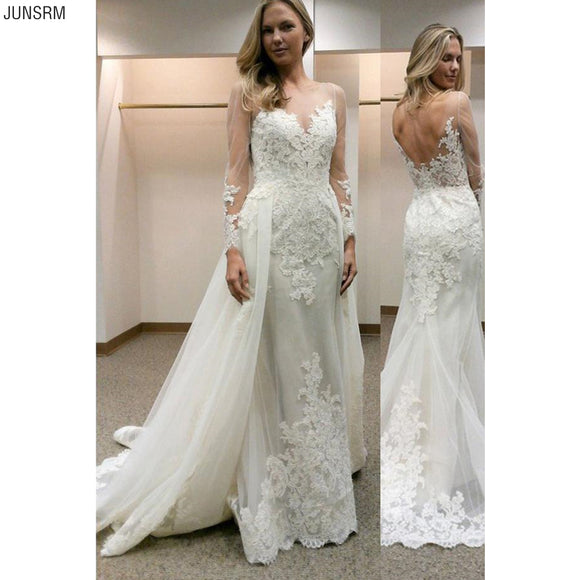 Sheath Wedding Dresses 2020 Illusion Wedding Dresses Long Sleeves Open Back Wedding Dresses 2020 Lace Wedding Dresses Applique Court Train Back