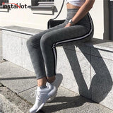 Elastic Stretchy Side Striped Plaid Pencil Pants 2020 Women Casual Autumn Trousers 2020 Elastic Waist Tweed Slant Elegant