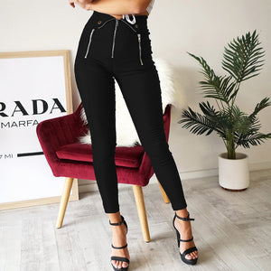 Women Autumn Elastic Zip High Waist Pencil Pants 2020 Slim Stretchy Trousers 2020 Black Pencil Pants Casual Streetwear Female Skinny Winter Black