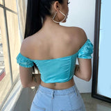Zipper Up Tshirt 2020 Ruffle Short Sleeve Crop Top Summer Elegant Casual Satin Ladies Cropped Top Sexy Off the Shoulder Tee Tops 2020