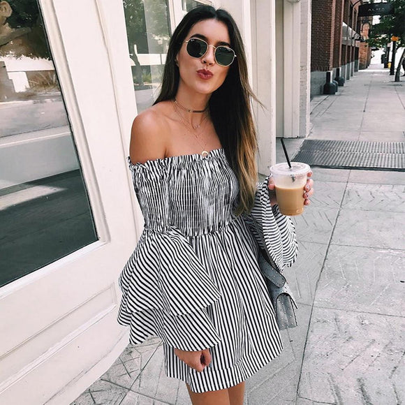 Spring Dress 2020 Womens Holiday Off Shoulder Stripe Dress 2020 Party Ladies Casual Dress Long Sleeve Dress 2020 Elegant Sexy Dress 2020   Swansstyle
