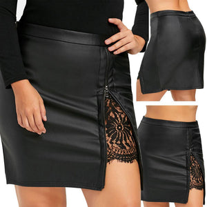 Summer Skirt 2020 Women Fashion Girls Leather Lace Uniform Pleated Skirt 2020 Sexy Leather Skirt   Swansstyle