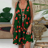 Women Summer Dress 2020 Plus Size Ladies Casual Loose Floral Print Sleeveless Bandage Mini Dress 2020 Sundress   Swansstyle