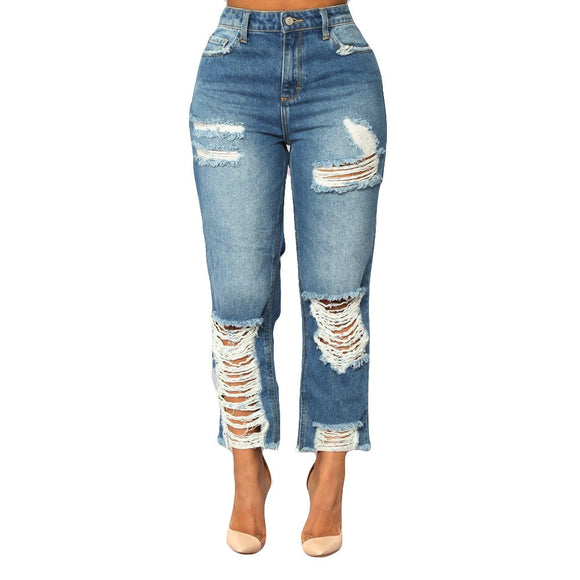Women High Waisted Jeans 2020 Skinny Hole Denim Jeans Stretch Slim Calf Length Women Jeans 2020