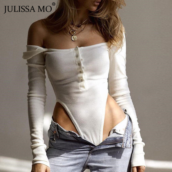 White Off Shoulder Sexy Bodysuit 2020 Slash Neck Bodysuits Women Slash Neck Long Sleeve Rompers Jumpsuits Autumn Buttons Skinny Body Overalls