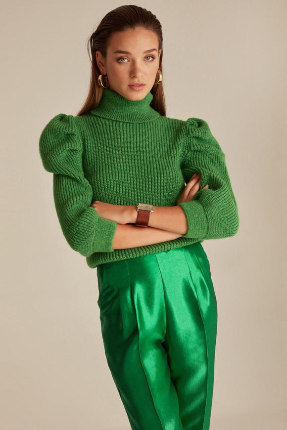 Pullovers 2020, Cheap Pullovers, Joinus Knitted Puff Sleeve Sweater Jumper With Roll Neck Woman Green свитер cardigan women Sexy lady wear