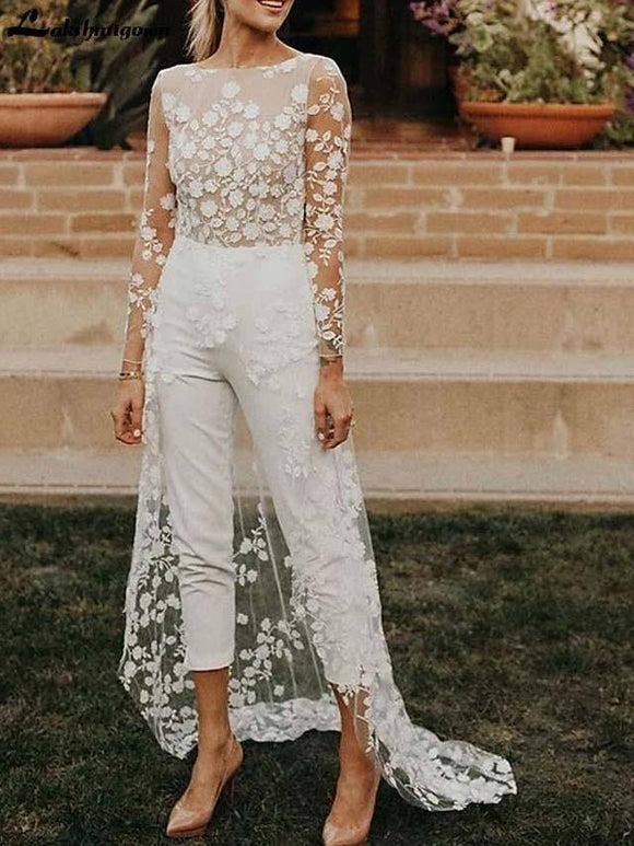 Jumpsuits A-Line Wedding Dress 2020 Jewel Neck Sweep / Brush Train Lace Satin Long Sleeve Sexy See-Through Modern with Embroidery