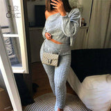 Sweater Sleeve Top High Waist Pants Tracksuit For Women Sexy Two Piece Set Women Loose Solid Knitted Suit pullovers