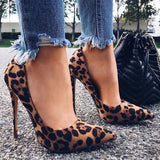 Flock Leopard Pumps 2020 Print Sexy Stilettos 10 12cm Party Heeled Designer Shoes Plus Big Size High Heels Shoes Pumps 2020