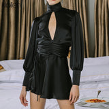 Vintage Turtleneck Black Dress 2020 Women Slim Satin Slik Vestidos fashion Long Sleeve Backless Black Dress 2020 senior Party Club Dress