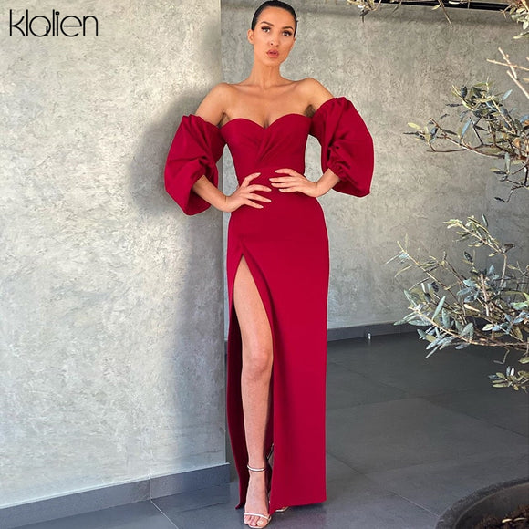 women elegant sexy high slit slash neck prom dress 2020 strapless puff sleeve dresses 2020 club slim dress bodycon 2020 Christmas senior party dress